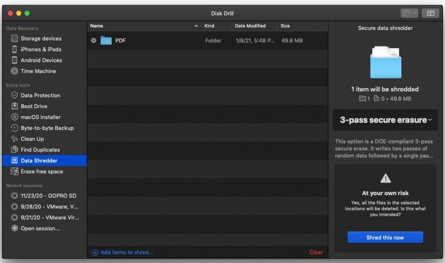 Disk Drill - File Shredder App