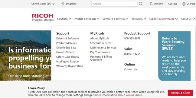 Drivers & Software from Support & Downloads Menu of Ricoh Website