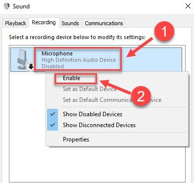 Enable Microphone Sound