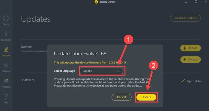 Select Language for Update Jabra Direct