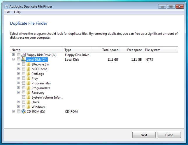 Location Select with Auslogics Duplicate File Finder