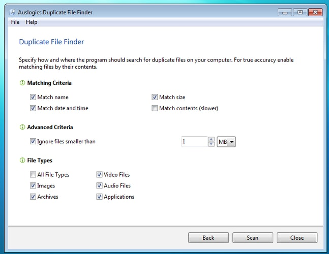 Enable Matching Criteria & File Type in Auslogics Duplicate File Finder