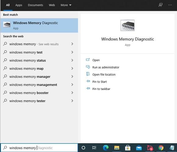 Type Windows Memory Diagnostic