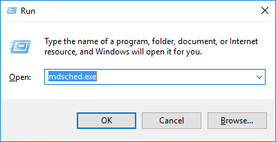 Type mdsched.exe in Run Utility Box