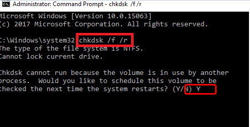 Command Prompt chkdsk