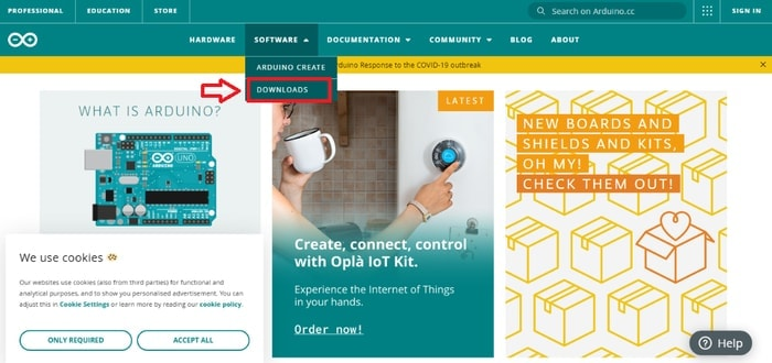 Choose Downloads in Software Menu from Official Website of Arduino