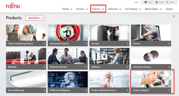 Select Product from Fujitsu Website