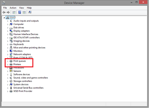 Find Printer or Print Queues in Device Manager