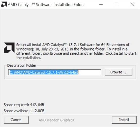 AMD Catalyst Software Installation Folder