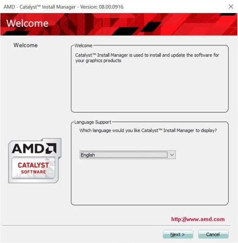 Choose the Preferred Language for Install AMD Catalyst Install Manager