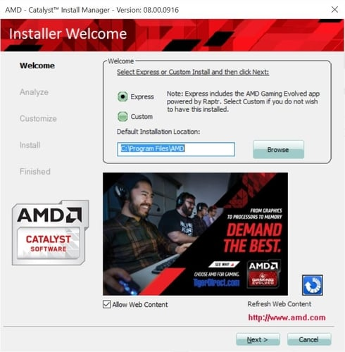 AMD Install Manager Installing Option