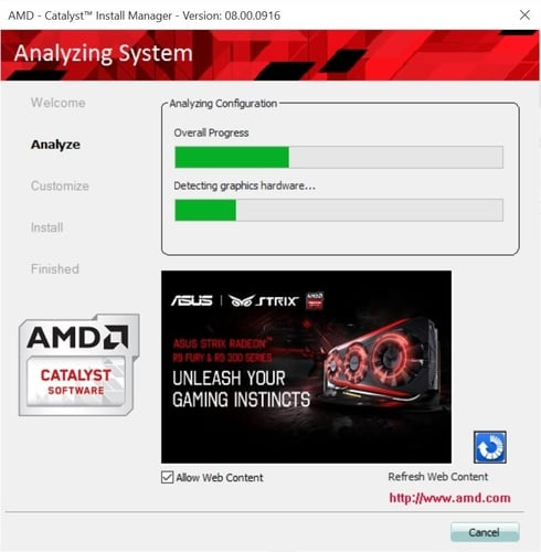 Analyze System with AMD Catalyst Install Manager