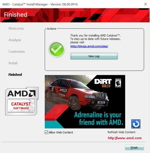 Finish AMD Install Manager