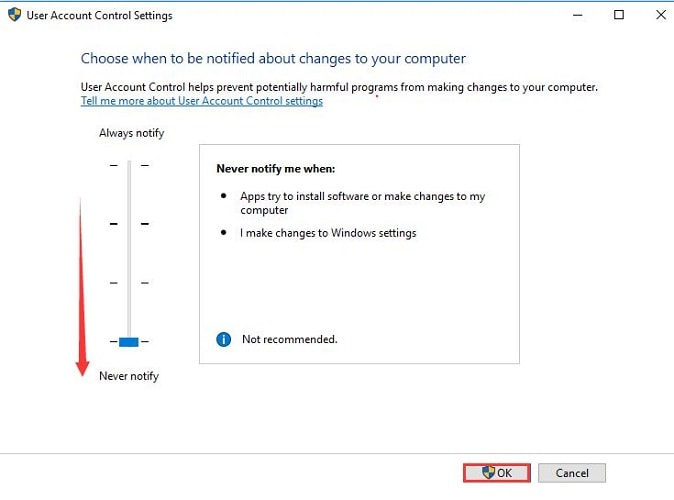 Choose Never Notify in Control Setting