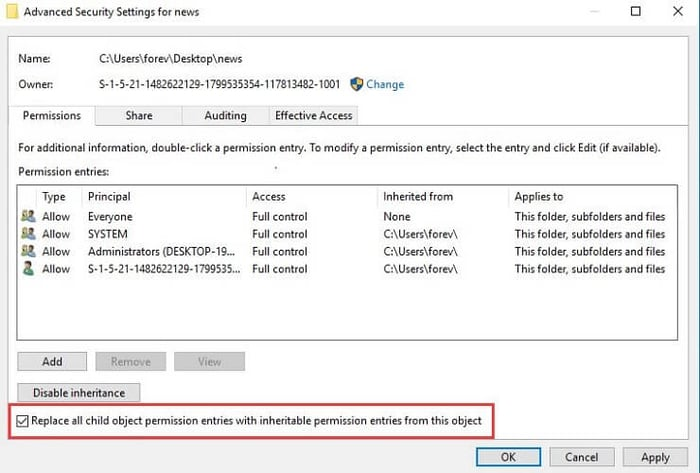 Check box of replace all child object permission entries with inheritable permission entries from this object