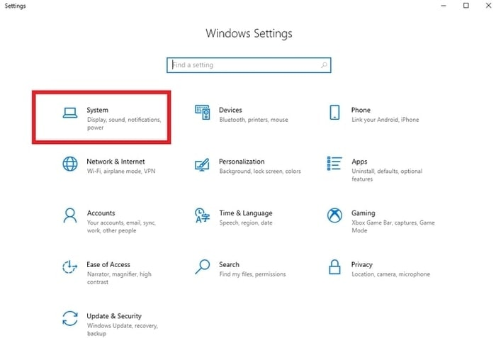 Select System from Window Settings