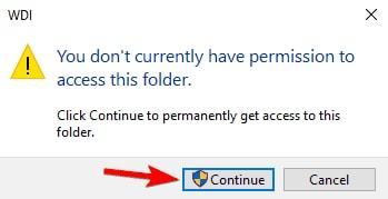 Continue for Access WDI Folder