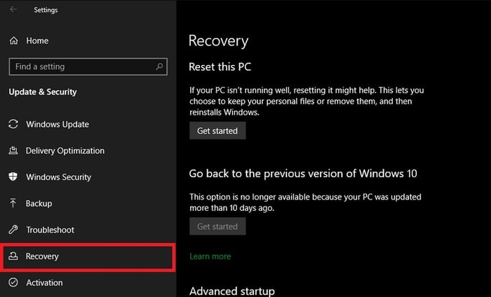 Click Recovery in Windows Setting