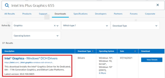 Click on Intel Graphics and Windows DCH Drivers