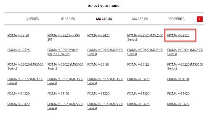 Select PIXMA MG2522 Printer Model From MG Series