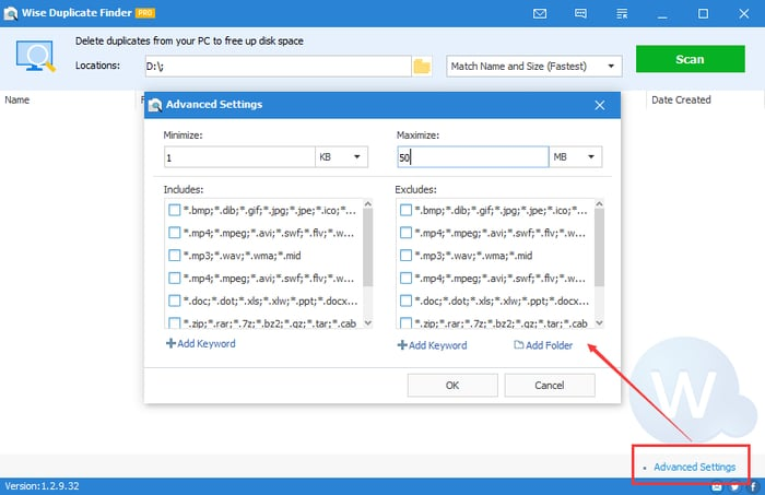 Advanced Settings for Find Duplicate Files