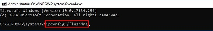 Type ipconfig /flushdns in Command Prompt