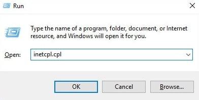 Type inetcpl.cpl in Run Dialog Box