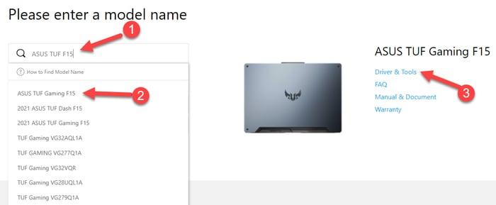 Type Asus Model Name