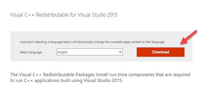 Download Microsoft Visual C++ 2015 Redistributable for Visual Studio