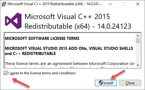 Install Visual C++ Redistributable