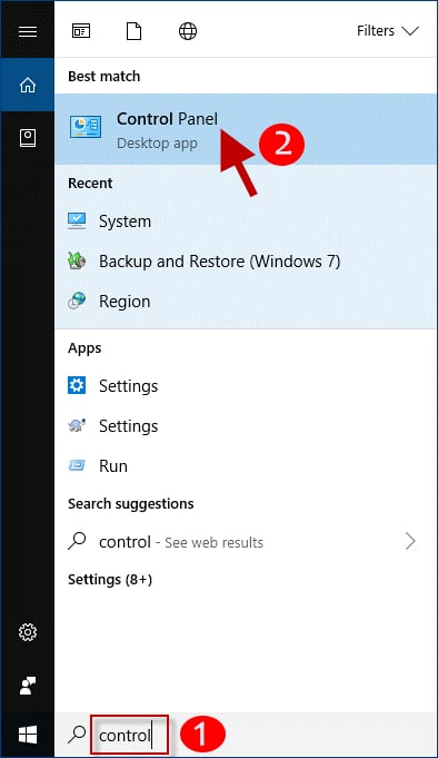 Type the Control in the Windows Search Box