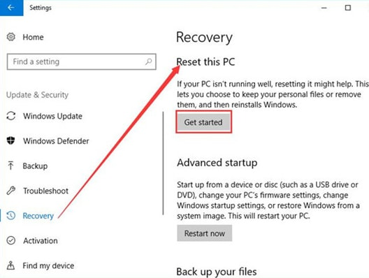 Click on Get Started Under Reset this PC
