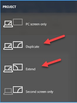 Select the Extend and Duplicate Option in Project