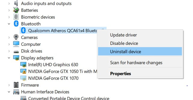 Choose Uninstall Device for Bluetooth Adapter