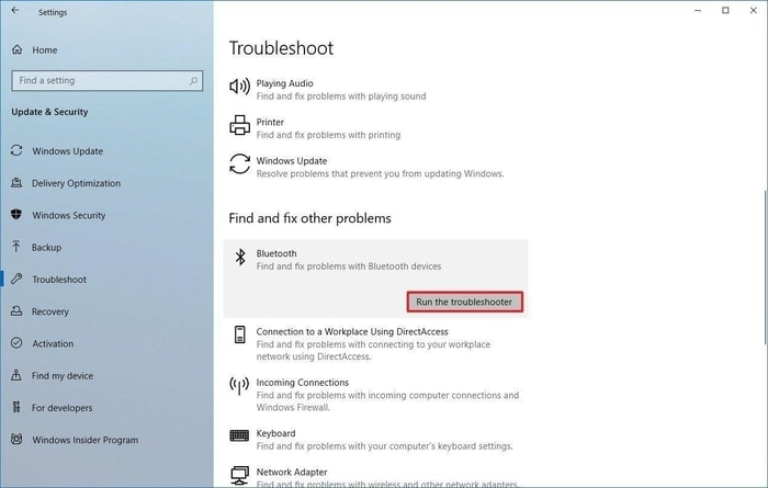 Run The Troubleshooter for Bluetooth Problem