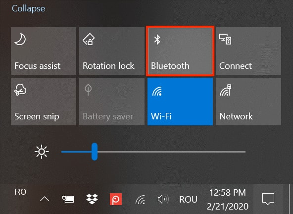 Turn on Bluetooth in Windows 10 Through The Action Center