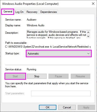 Automatic start windows audio service on startup
