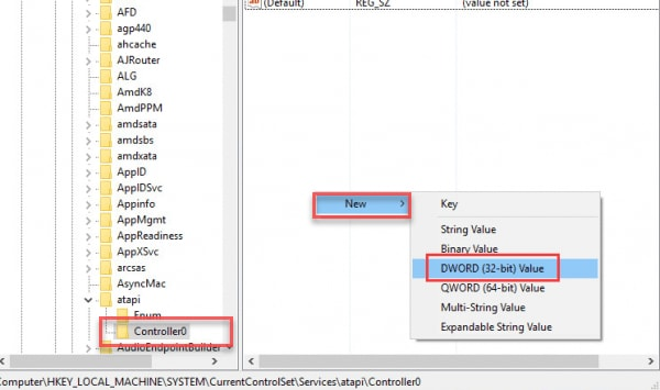 Right-Click on the Controller0, move to the New, then clickDWORD(32-bit) Value