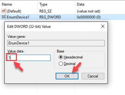 Type EnumDevice1, input value data box, then OK