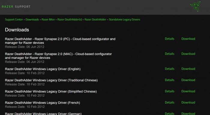 Find Razer Recent driver version of Razer official Site