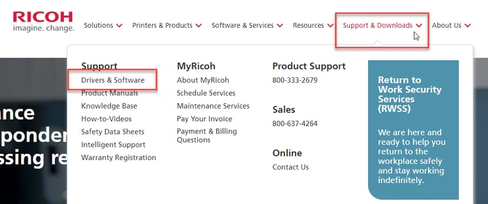 Select Drivers & Software in Support & Downloads tab of Ricoh Official Site