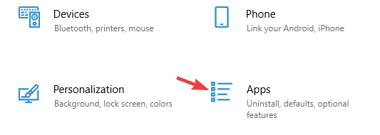 Click on Apps from Windows Settings