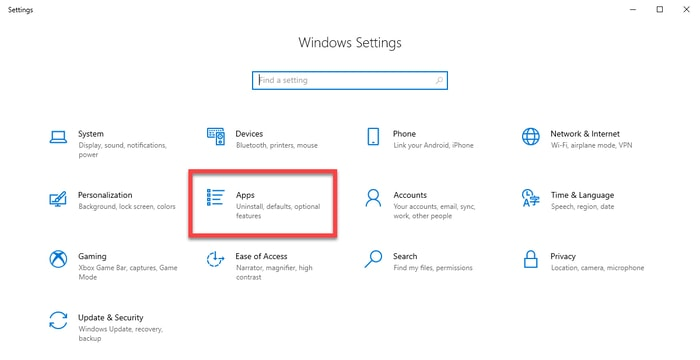 Select Apps in Windows Settings