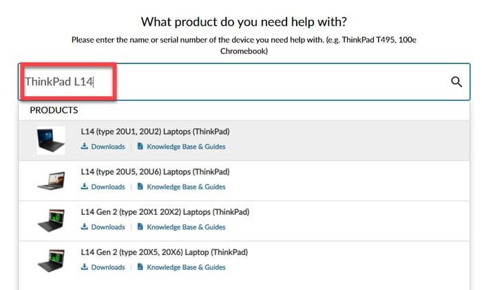 Type and choose Lenovo ThinkPadL14 Model