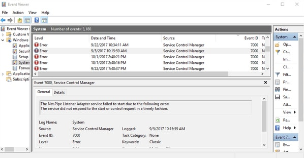 Event error complete details in Event Viewer