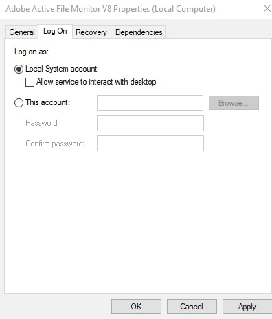Select Local System Account In Log On Tab