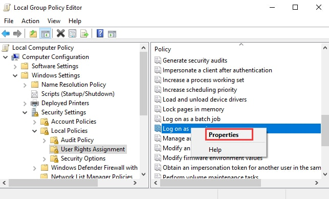 Right click on Log on as service and choose Properties