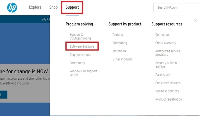 Choose Software & Drivers in Support Tab for HP Official Site