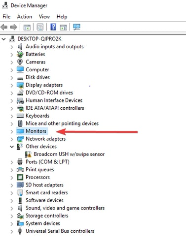 Navigate the Monitors in Device Manager
