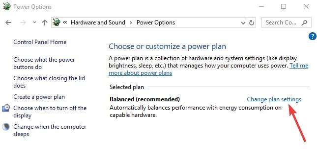 Change Plan Settings in Power Options